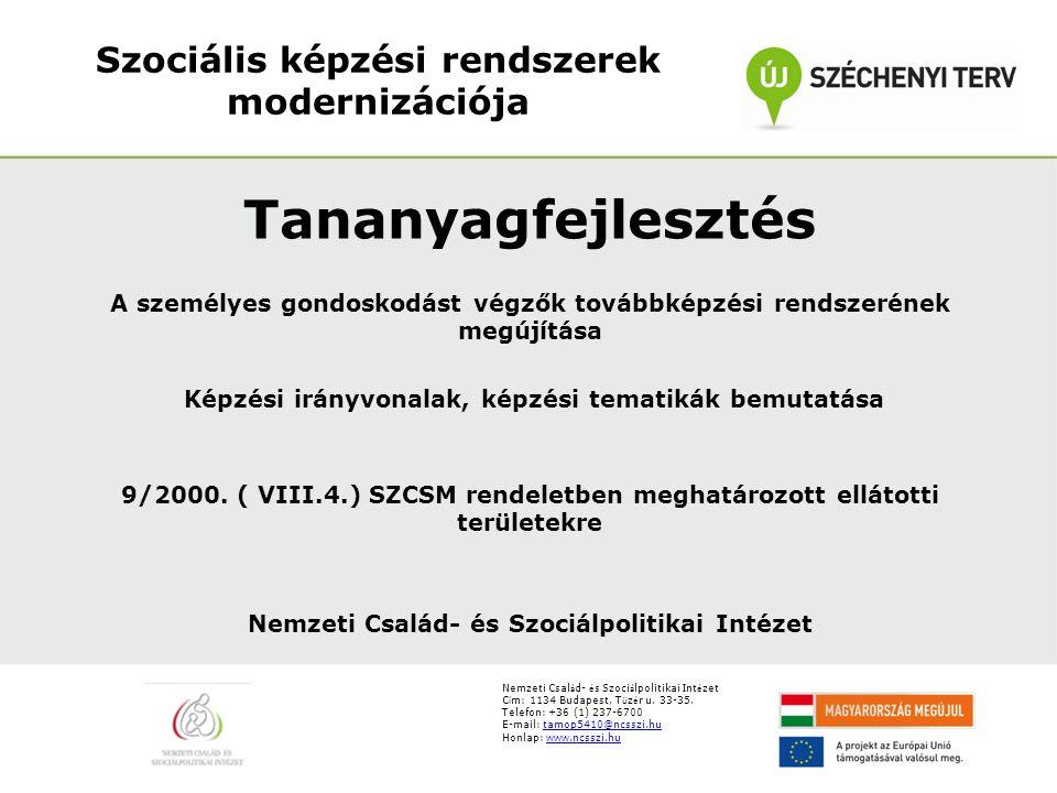 Szociális képzési rendszerek modernizációja