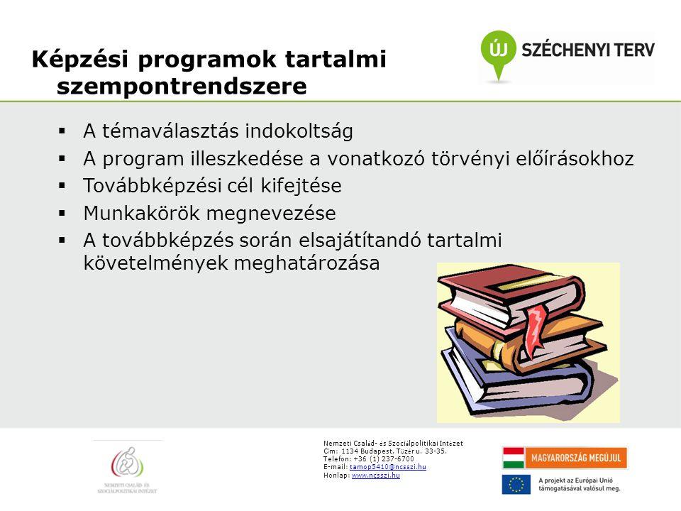 Képzési programok tartalmi szempontrendszere