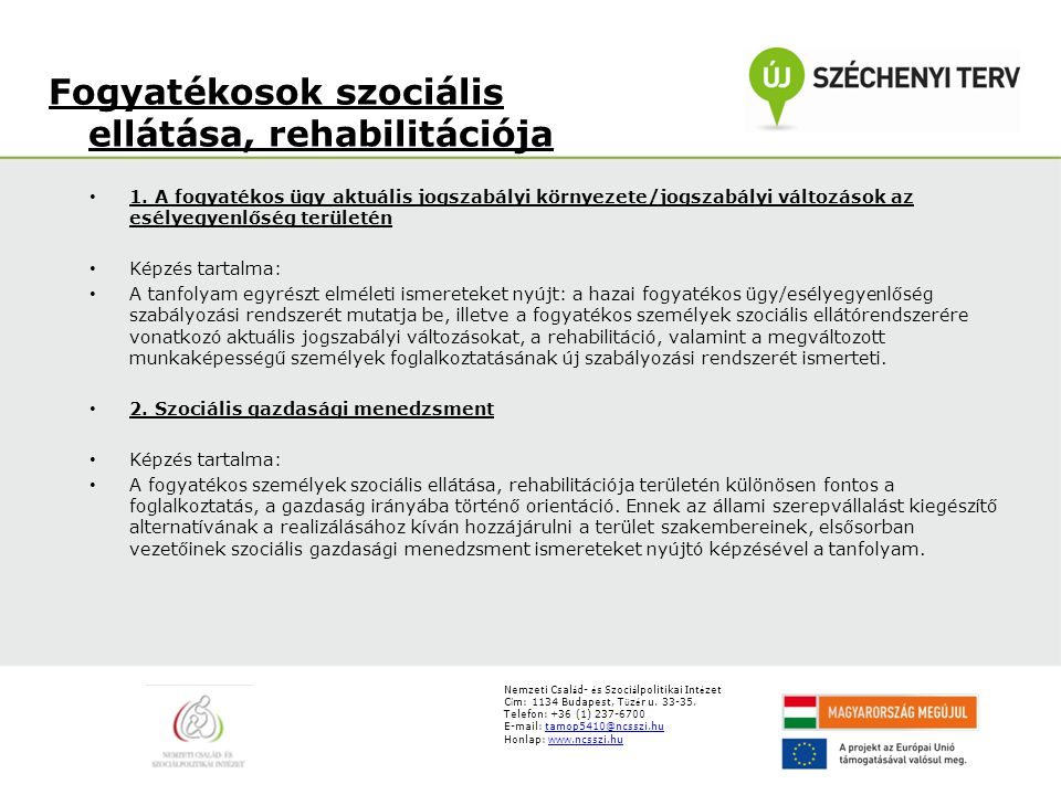 Fogyatékosok szociális ellátása, rehabilitációja