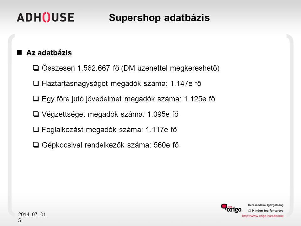 Supershop adatbázis Az adatbázis