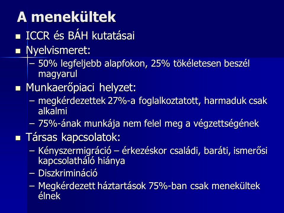 A menekültek ICCR és BÁH kutatásai Nyelvismeret: