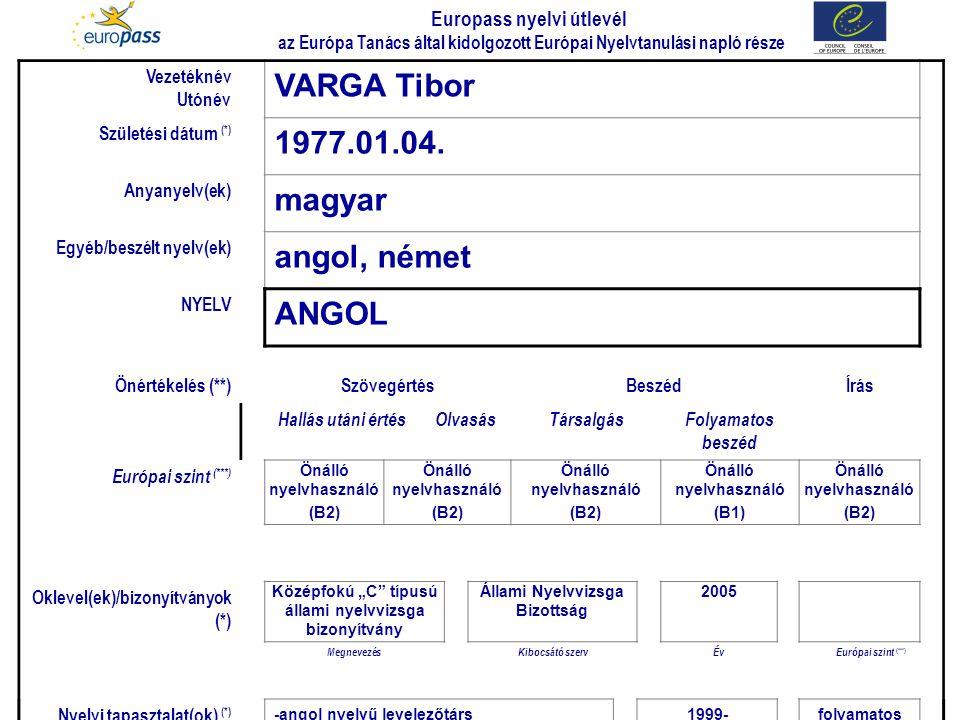 VARGA Tibor 1977.01.04. magyar angol, német ANGOL