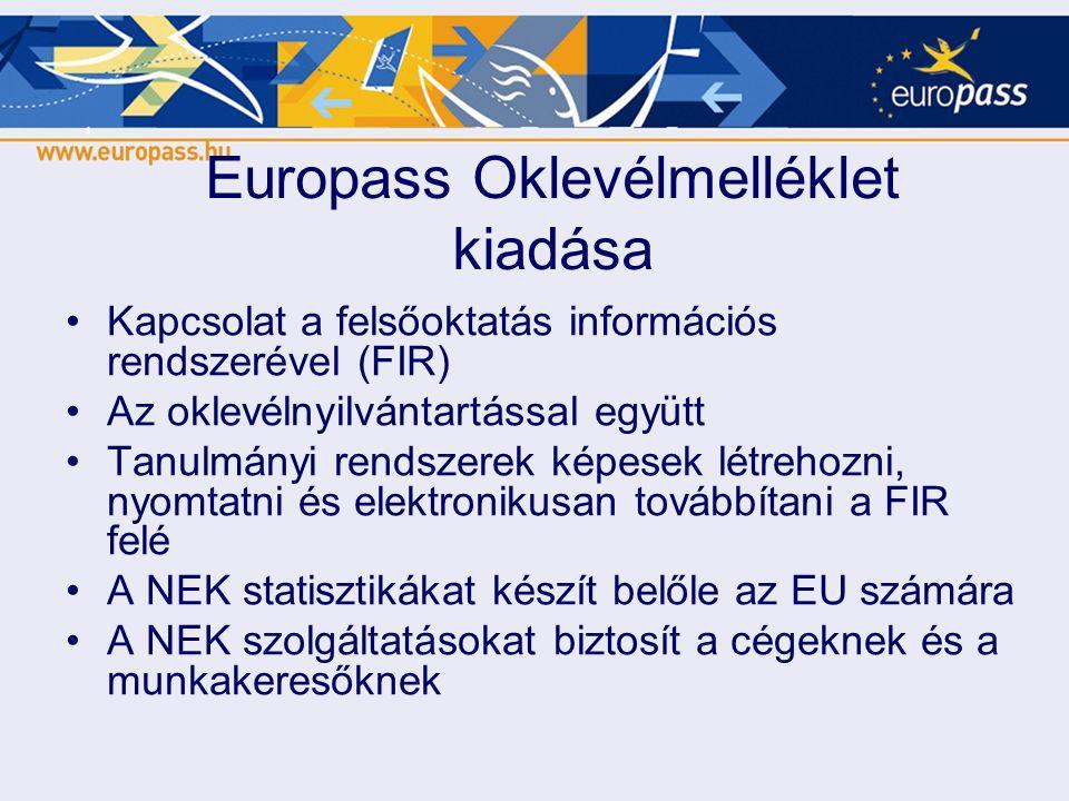 Europass Oklevélmelléklet kiadása