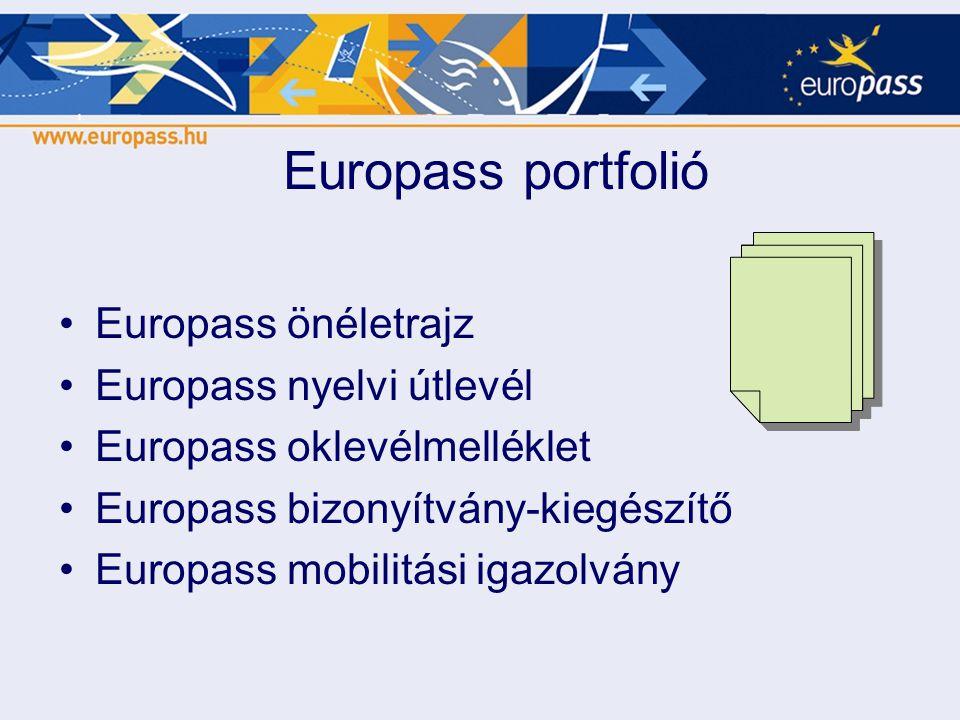Europass portfolió Europass önéletrajz Europass nyelvi útlevél