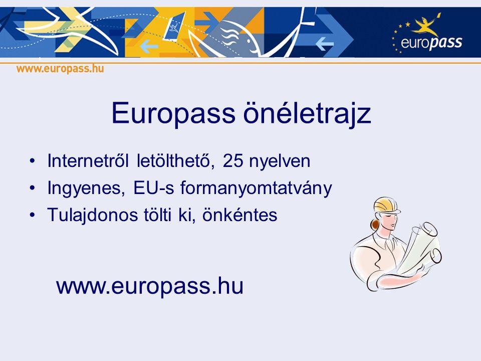 Europass önéletrajz www.europass.hu Internetről letölthető, 25 nyelven