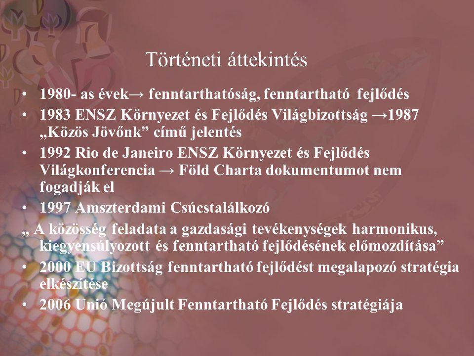 Történeti áttekintés 1980- as évek→ fenntarthatóság, fenntartható fejlődés.