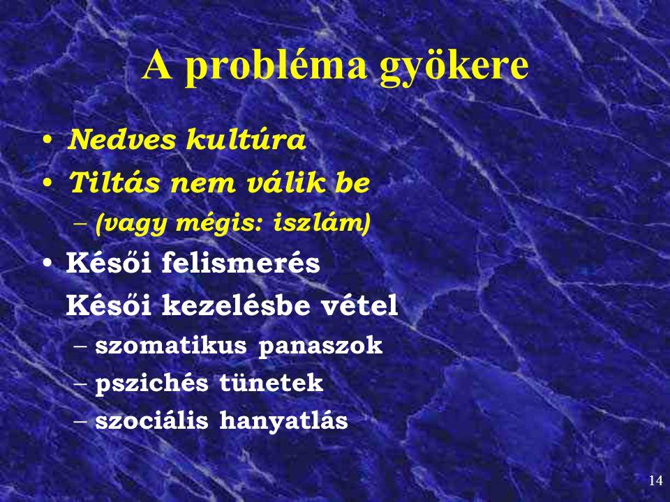 A probléma gyökere Nedves kultúra Tiltás nem válik be Késői felismerés