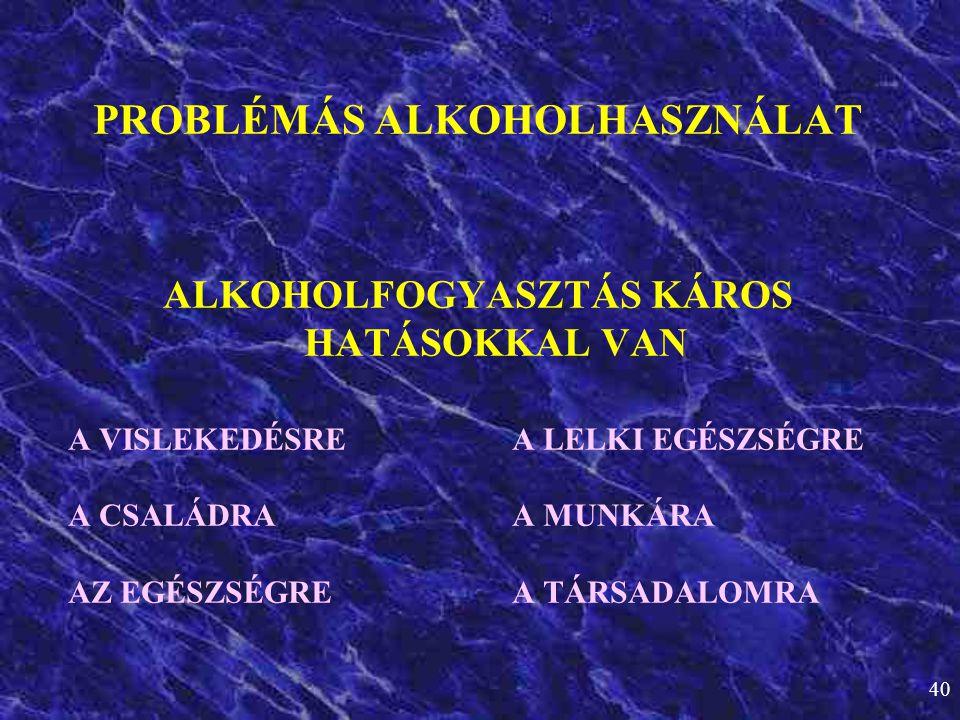 PROBLÉMÁS ALKOHOLHASZNÁLAT ALKOHOLFOGYASZTÁS KÁROS HATÁSOKKAL VAN