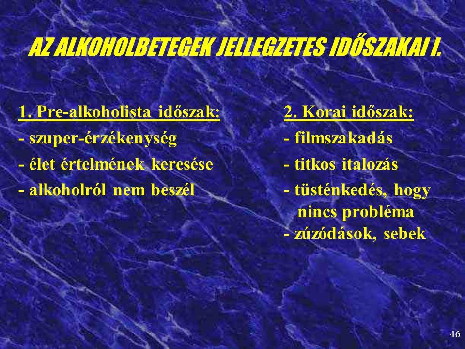AZ ALKOHOLBETEGEK JELLEGZETES IDŐSZAKAI I.
