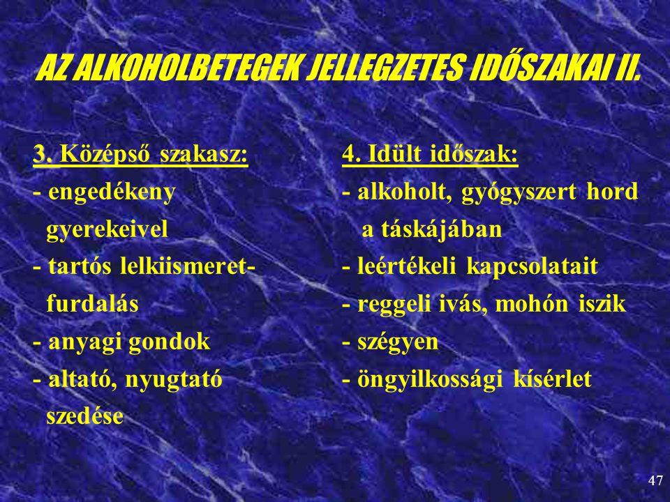 AZ ALKOHOLBETEGEK JELLEGZETES IDŐSZAKAI II.