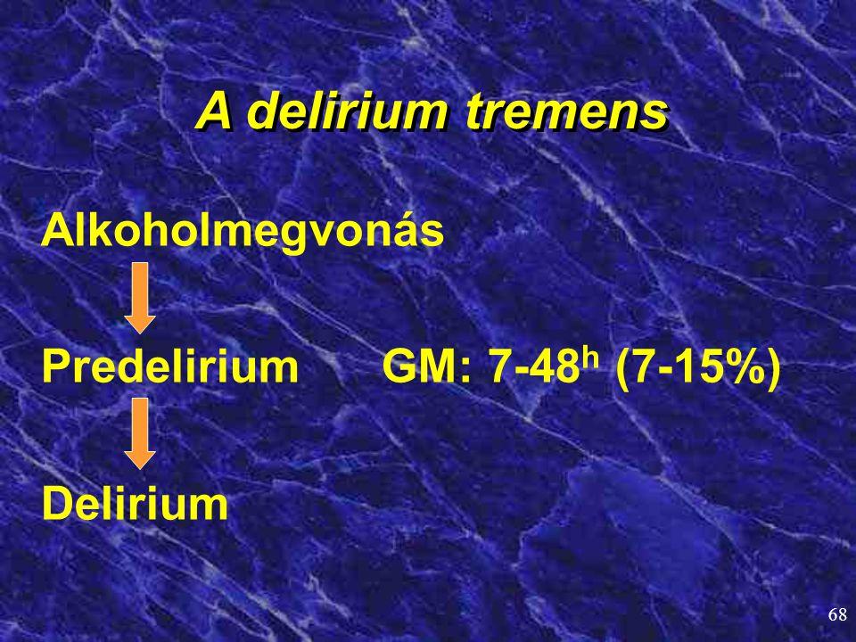 A delirium tremens Alkoholmegvonás Predelirium GM: 7-48h (7-15%)