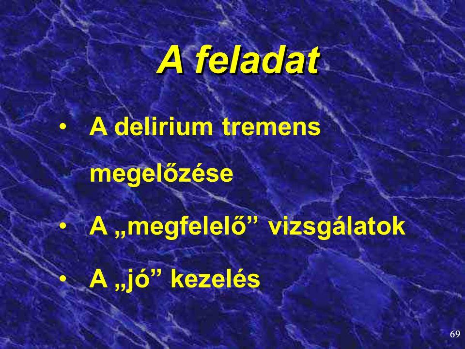 """A feladat A delirium tremens megelőzése A """"megfelelő vizsgálatok"""