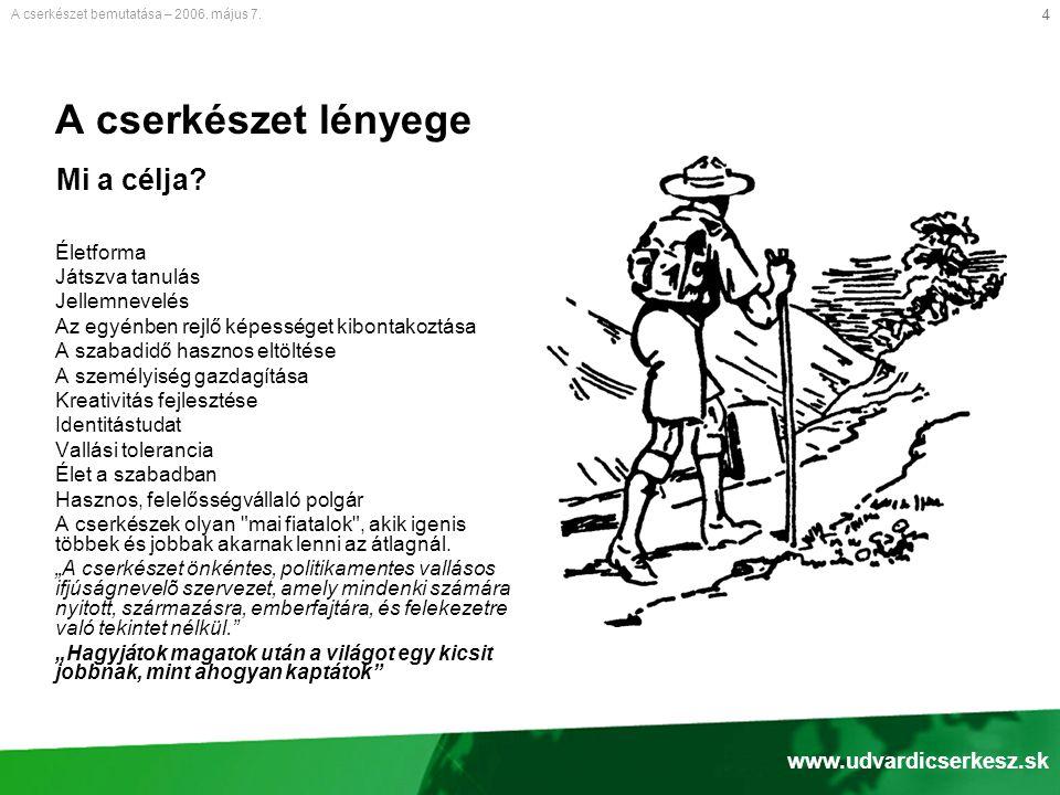 A cserkészet lényege Mi a célja www.udvardicserkesz.sk Életforma