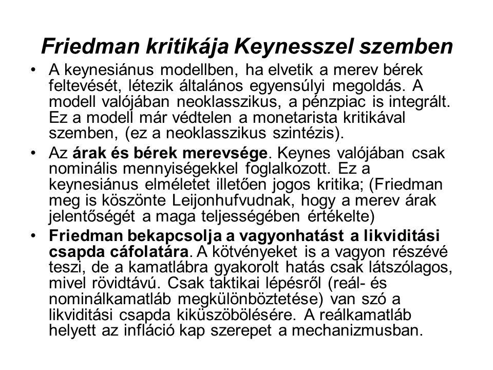 Friedman kritikája Keynesszel szemben