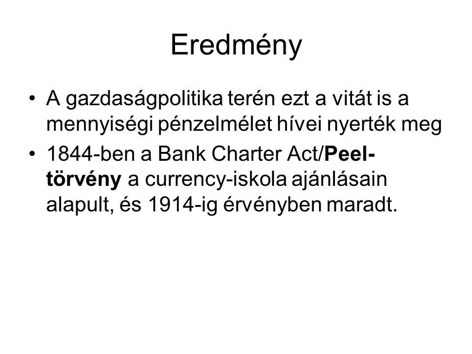 Eredmény A gazdaságpolitika terén ezt a vitát is a mennyiségi pénzelmélet hívei nyerték meg.