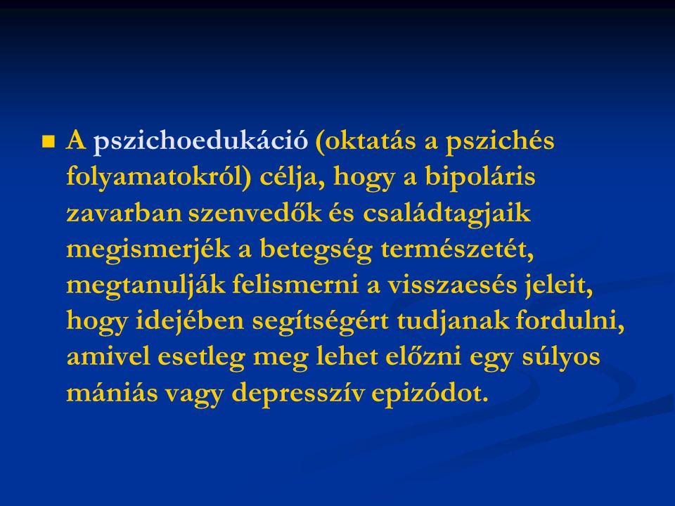 A pszichoedukáció (oktatás a pszichés folyamatokról) célja, hogy a bipoláris zavarban szenvedők és családtagjaik megismerjék a betegség természetét, megtanulják felismerni a visszaesés jeleit, hogy idejében segítségért tudjanak fordulni, amivel esetleg meg lehet előzni egy súlyos mániás vagy depresszív epizódot.