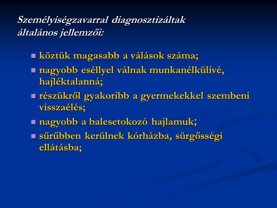 Személyiségzavarral diagnosztizáltak általános jellemzői: