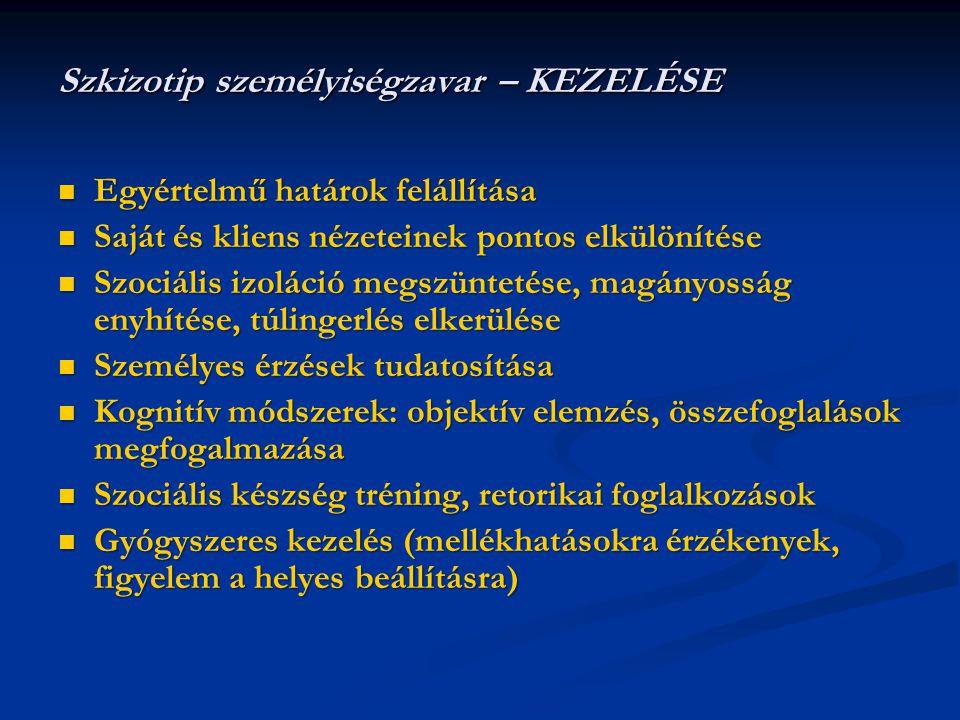 Szkizotip személyiségzavar – KEZELÉSE