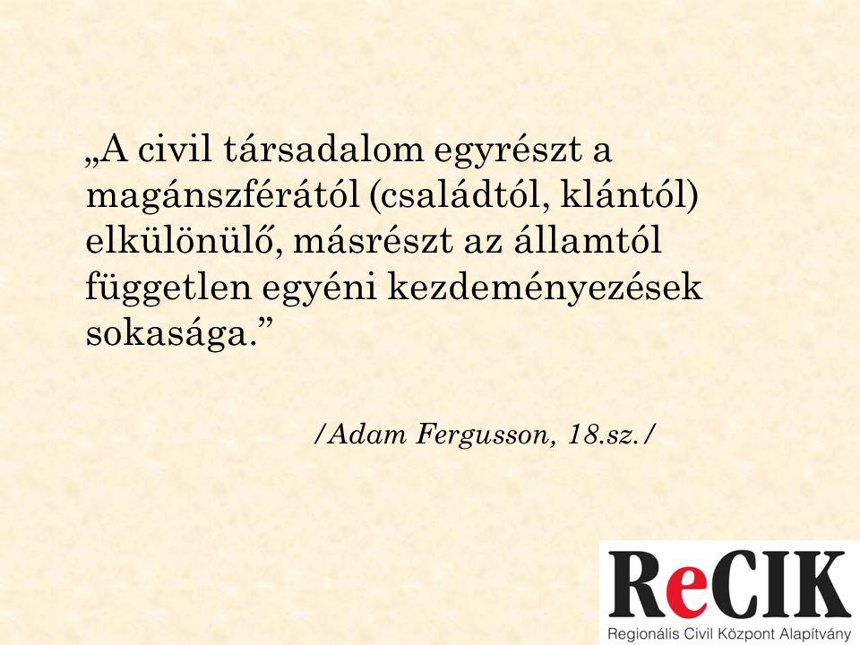 """""""A civil társadalom egyrészt a magánszférától (családtól, klántól) elkülönülő, másrészt az államtól független egyéni kezdeményezések sokasága."""