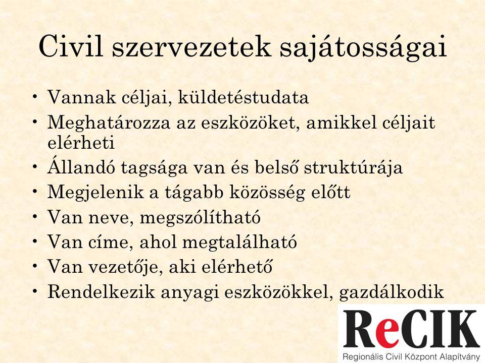 Civil szervezetek sajátosságai