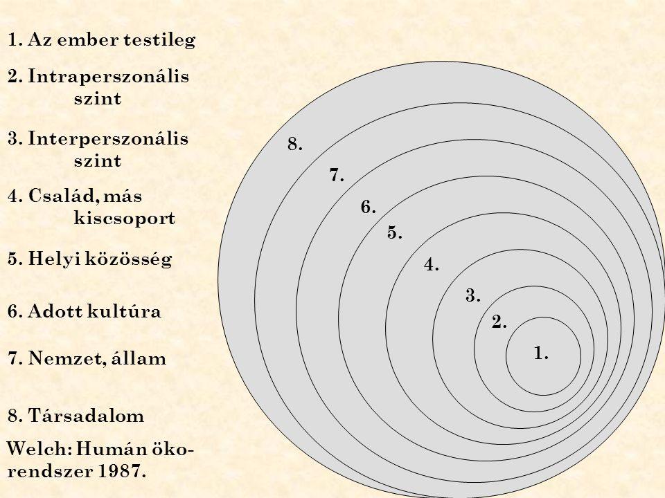 1. Az ember testileg 2. Intraperszonális szint. 3. Interperszonális szint. 8. 7. 4. Család, más kiscsoport.