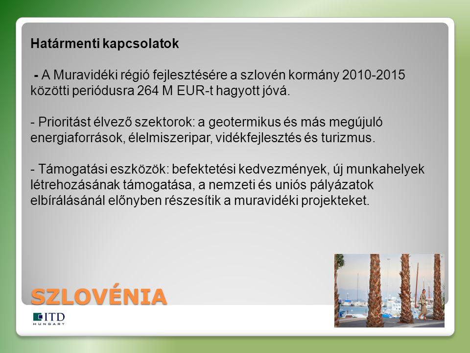 Határmenti kapcsolatok - A Muravidéki régió fejlesztésére a szlovén kormány 2010-2015 közötti periódusra 264 M EUR-t hagyott jóvá.