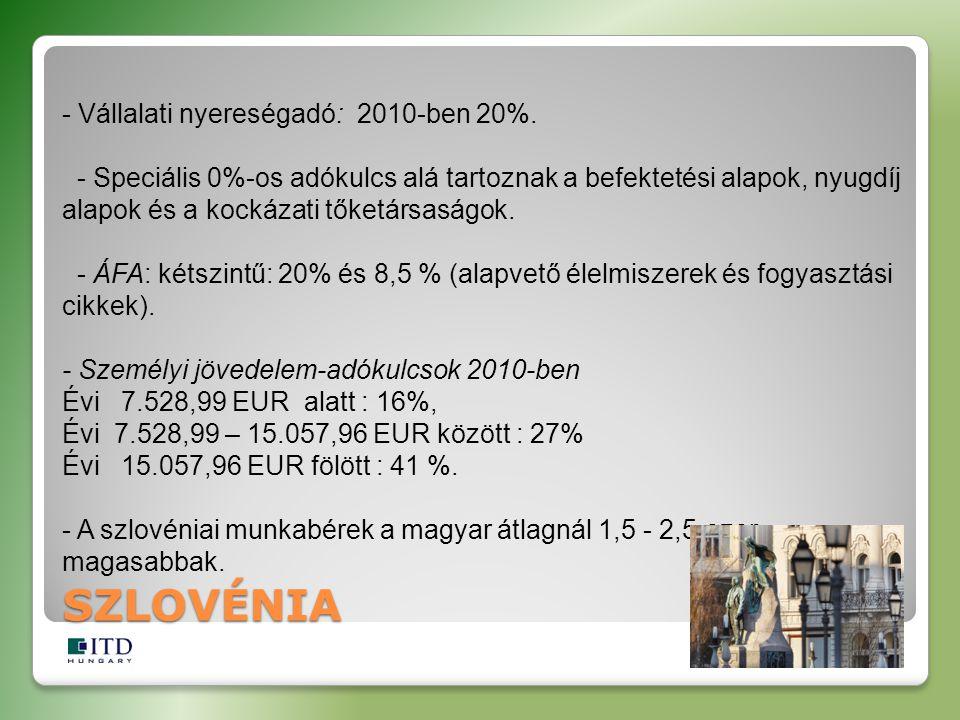 - Vállalati nyereségadó: 2010-ben 20%