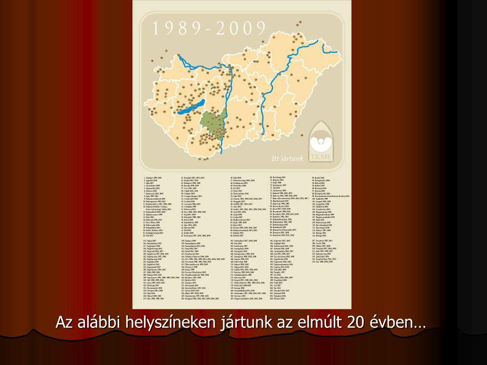 Az alábbi helyszíneken jártunk az elmúlt 20 évben…