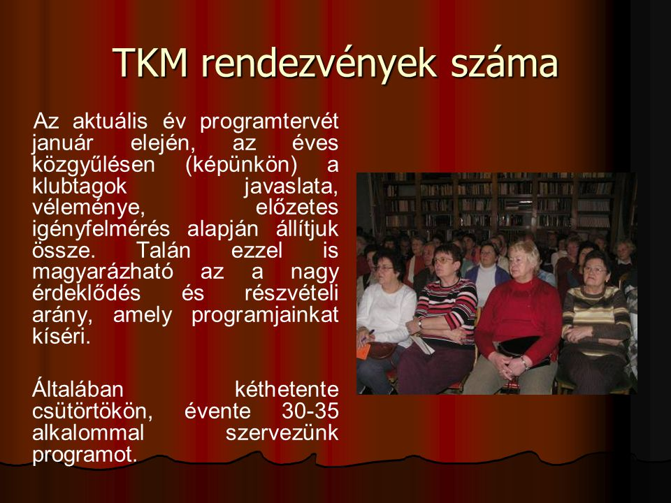 TKM rendezvények száma