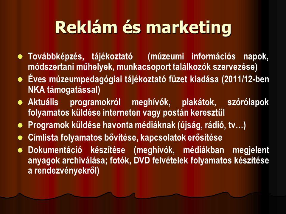 Reklám és marketing Továbbképzés, tájékoztató (múzeumi információs napok, módszertani műhelyek, munkacsoport találkozók szervezése)