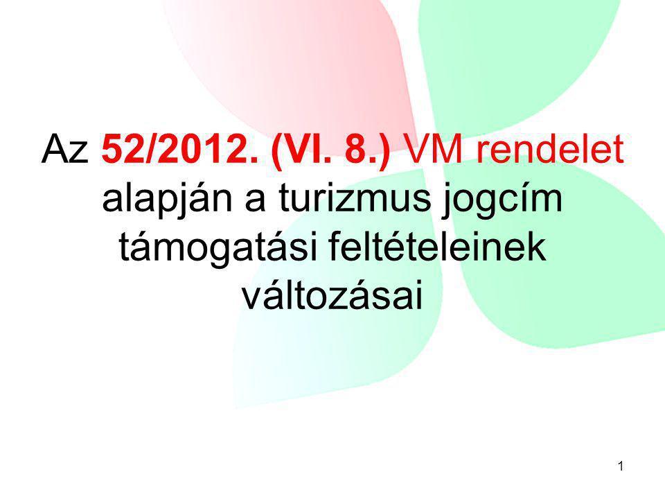 Az 52/2012. (VI. 8.) VM rendelet alapján a turizmus jogcím támogatási feltételeinek változásai