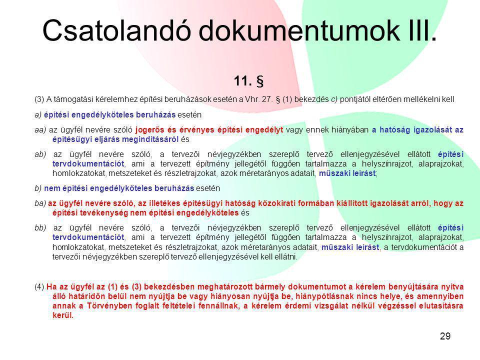 Csatolandó dokumentumok III.