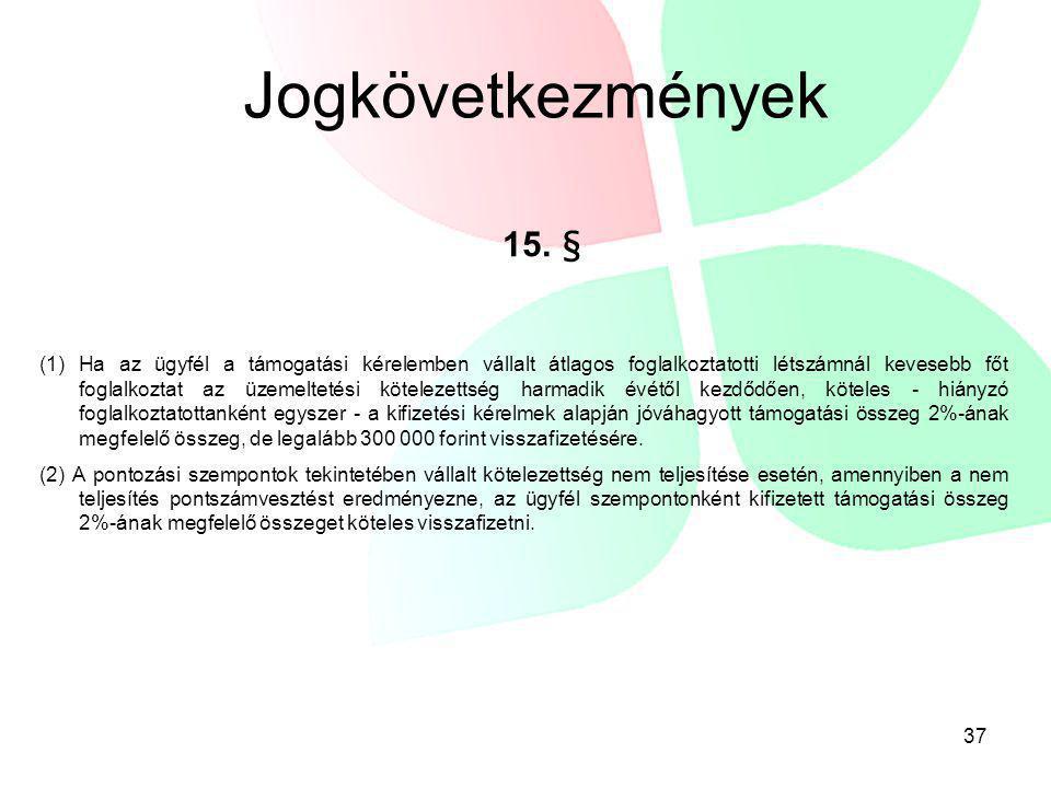 Jogkövetkezmények 15. §