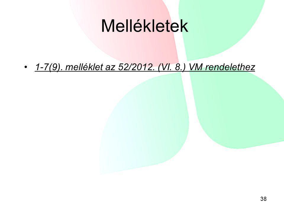 Mellékletek 1-7(9). melléklet az 52/2012. (VI. 8.) VM rendelethez