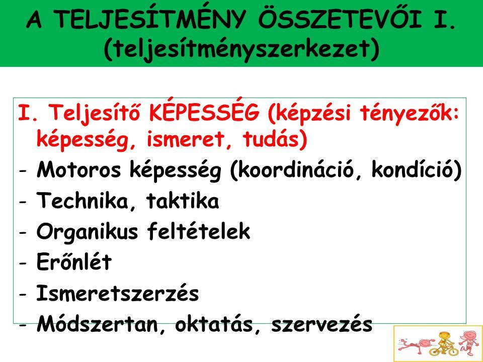 A TELJESÍTMÉNY ÖSSZETEVŐI I. (teljesítményszerkezet)