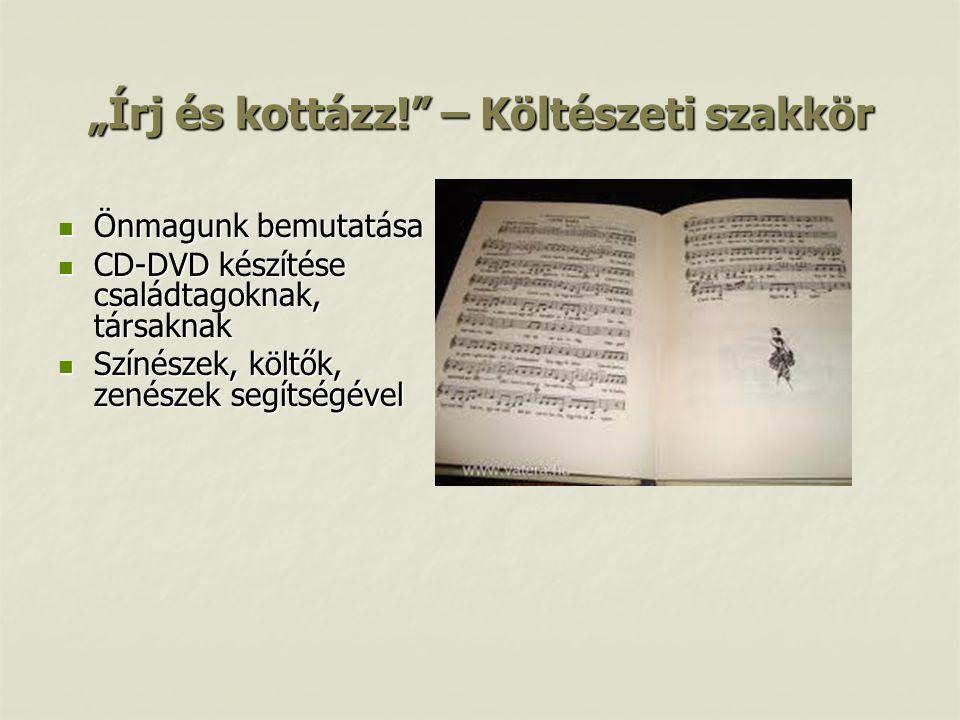 """""""Írj és kottázz! – Költészeti szakkör"""
