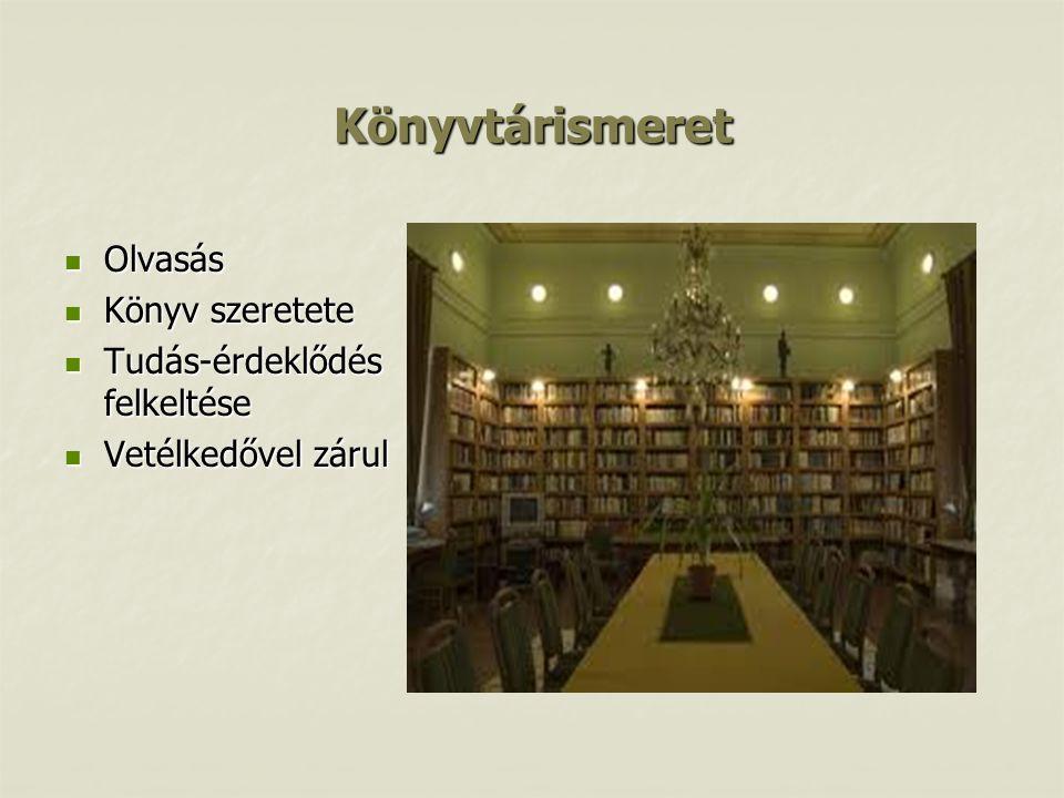 Könyvtárismeret Olvasás Könyv szeretete Tudás-érdeklődés felkeltése