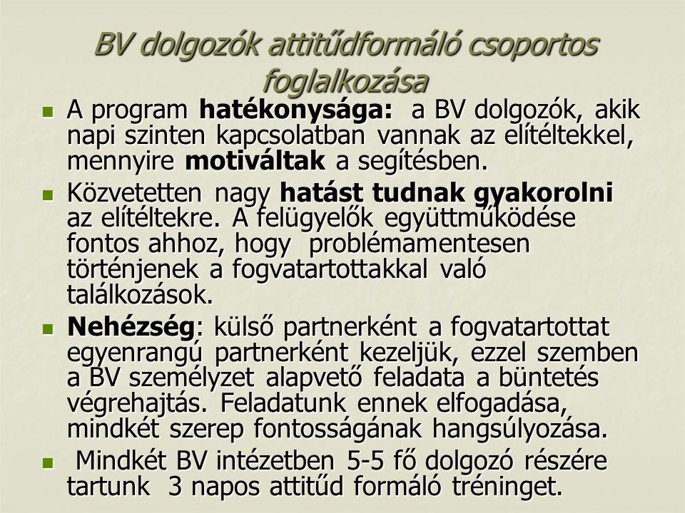 BV dolgozók attitűdformáló csoportos foglalkozása