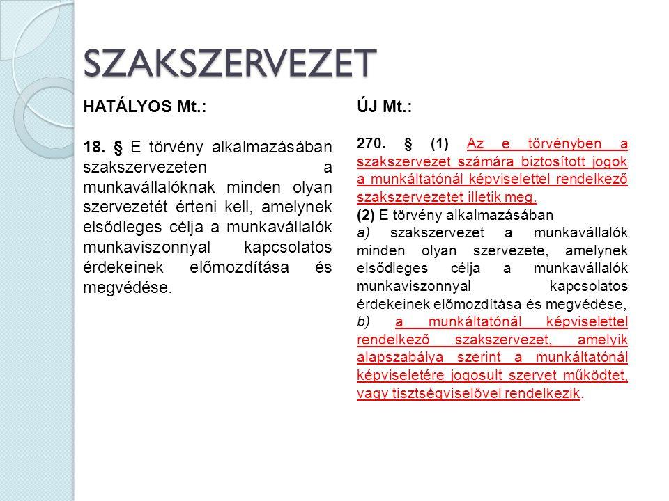 SZAKSZERVEZET HATÁLYOS Mt.: