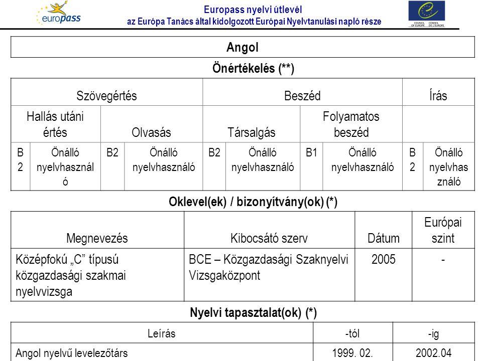 Oklevel(ek) / bizonyítvány(ok) (*) Nyelvi tapasztalat(ok) (*)