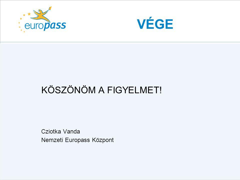 VÉGE KÖSZÖNÖM A FIGYELMET! Cziotka Vanda Nemzeti Europass Központ