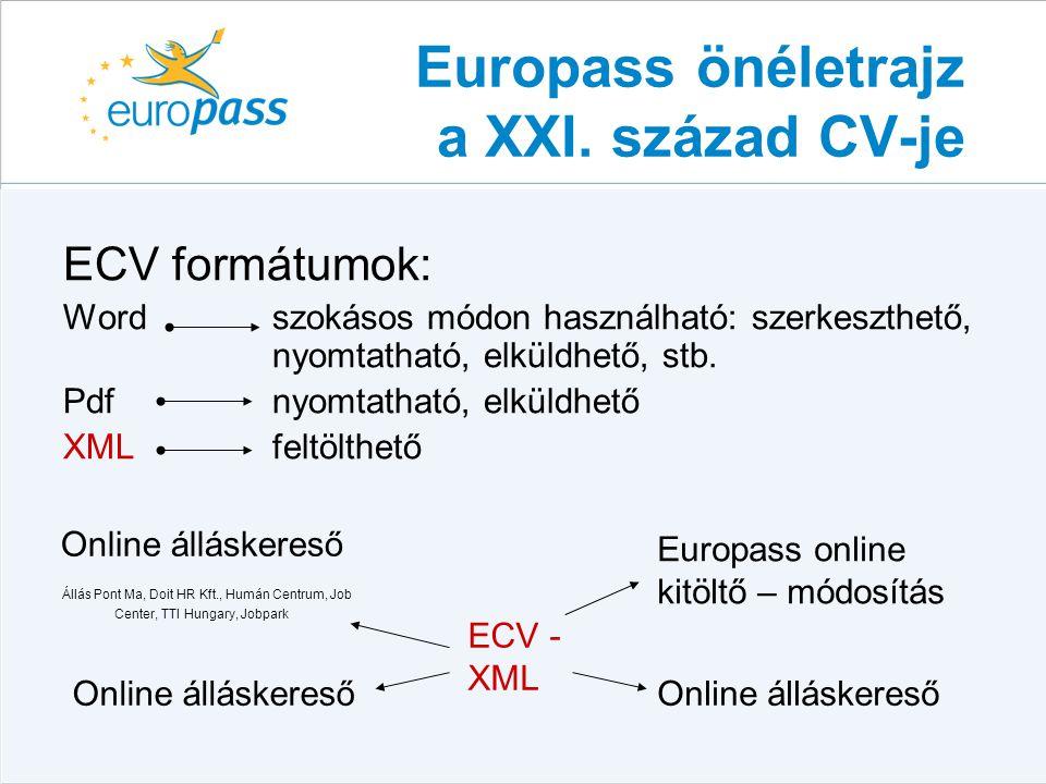 Europass önéletrajz a XXI. század CV-je