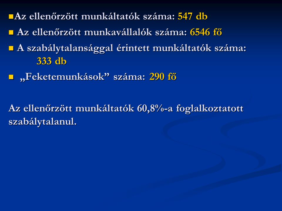 Az ellenőrzött munkáltatók száma: 547 db
