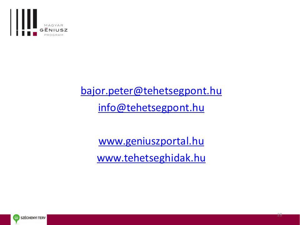 bajor.peter@tehetsegpont.hu info@tehetsegpont.hu www.geniuszportal.hu www.tehetseghidak.hu