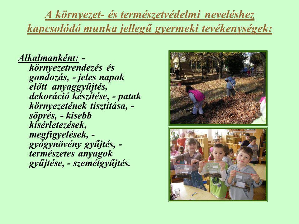 A környezet- és természetvédelmi neveléshez kapcsolódó munka jellegű gyermeki tevékenységek: