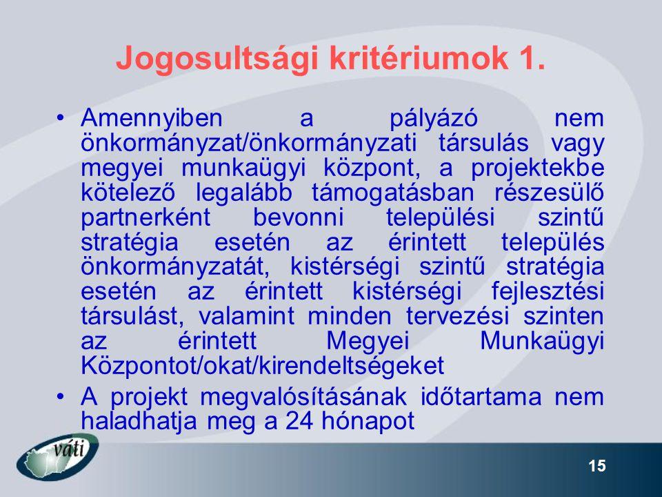 Jogosultsági kritériumok 1.