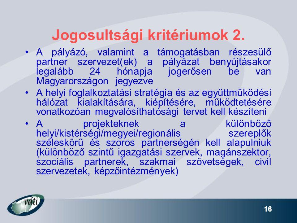 Jogosultsági kritériumok 2.