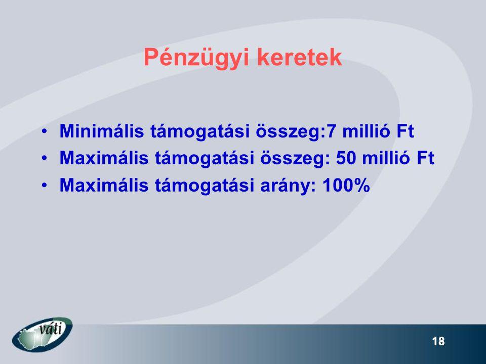 Pénzügyi keretek Minimális támogatási összeg:7 millió Ft