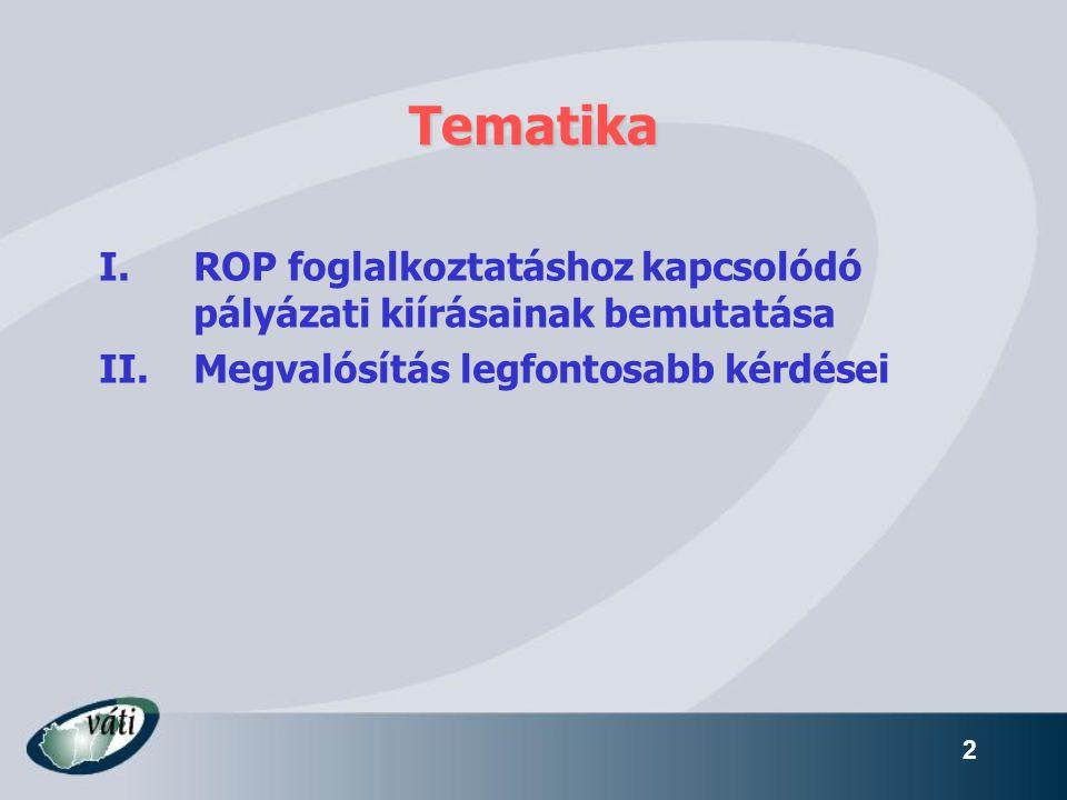 Tematika ROP foglalkoztatáshoz kapcsolódó pályázati kiírásainak bemutatása.