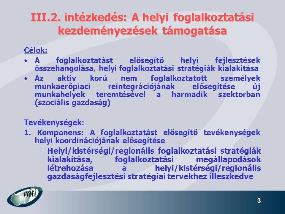 III.2. intézkedés: A helyi foglalkoztatási kezdeményezések támogatása